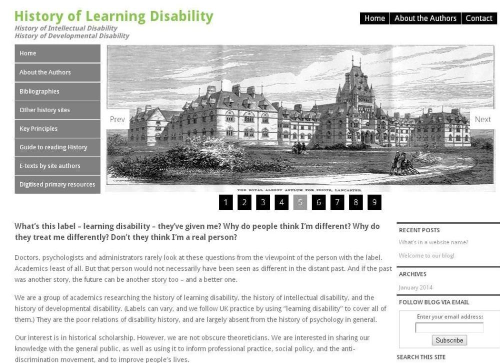 Events and a New Website on the History of Learning Disability (2/4)
