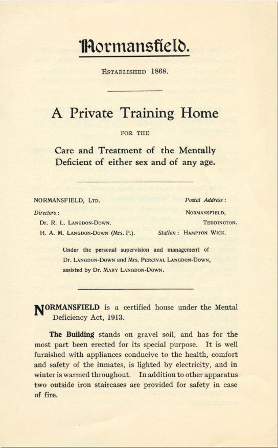 Normansfield: The Early Years 1868 to 1913. Part 6 Teaching (1/6)